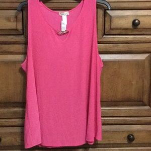 Brylah Fashions Pink Tank Top With Jewel Chain